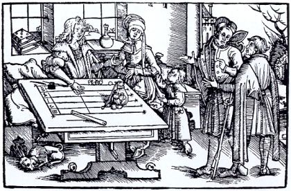 Counting table in an early woodcut