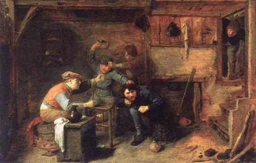 Peasants Fighting, Brouwer, Adriaen, 1631-35 Oil on wood, Alte Pinakothek, Munich