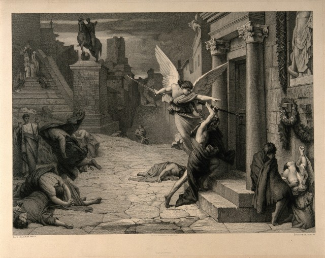 V0010664 The angel of death striking a door during the plague of Rome